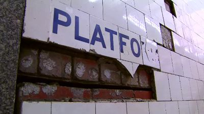 Broken tiles are not an ideal look for the millions of commuters passing through Melbourne's main train station. (9NEWS)