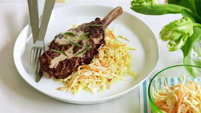 <strong>Rib-eye with hot-mustard coleslaw</strong>