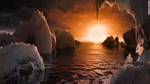 Artist's concept image of the surface of the exoplanet TRAPPIST-1f. One of the seven exoplanets discovered orbiting the ultracool dwarf star TRAPPIST-1, this one may be the most suitable for life.