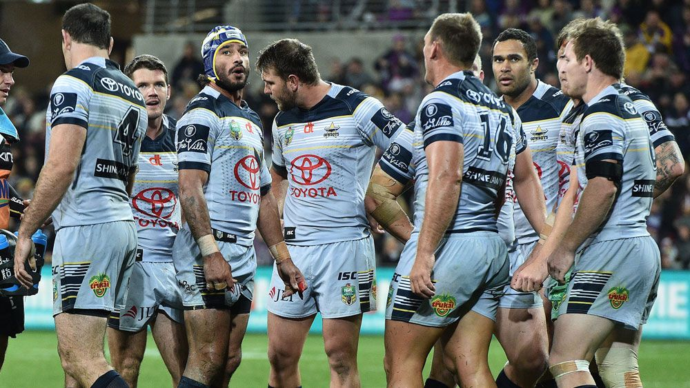 The champion Cowboys were outclassed by Melbourne 16-10 and now host the Broncos, who eliminated Gold Coast on Friday night, to keep alive their title defence.(AAP)