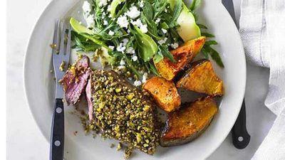 "<a href=""http://kitchen.nine.com.au/2016/05/04/15/38/dukkah-spiced-lamb-leg-steaks-with-rocket-and-feta-salad"" target=""_top"">Dukkah spiced lamb leg steaks with rocket and feta salad</a> recipe"