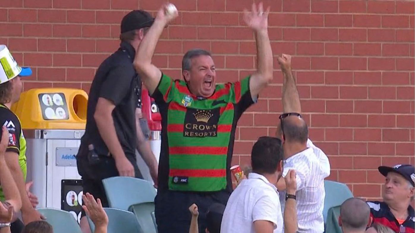 'Random Souths Guy' takes crowd catch in BBL clash at Adelaide Oval, goes nuts in celebration