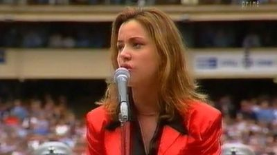 "Tina Arena sang the national anthem at the 2013 Grand Final, however back in 1995 the homegrown singing sensation performed ""Waltzing Matilda"" at the Grand Final between Geelong and Carlton. (YouTube)"