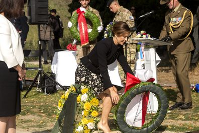 Mary wreath laying at the official inauguration of the Australian War Monument at the Churchill Memorial Park.