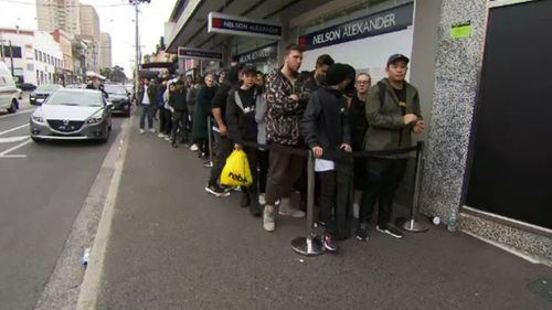 Fans flock to the Fitzroy pop up of Kanye West's store. (9NEWS)