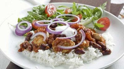 """Recipe:&nbsp;<a href=""""http://kitchen.nine.com.au/2016/06/06/16/52/chicken-chilli-and-rice"""" target=""""_top"""" draggable=""""false"""">Chicken chilli and rice</a>"""