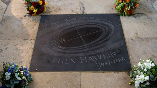 Here lies what was mortal of Stephen Hawking. Picture: Westminster Abbey/PA Wire via AAP