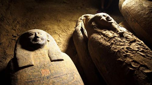 More than a dozen ancient coffins have been uncovered in Egypt.