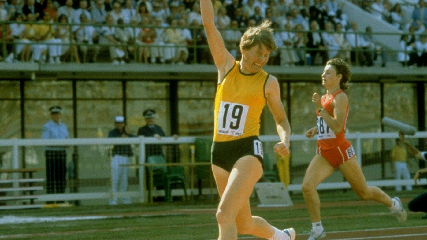 Oct 1982: Raelene Boyle of Australia celebrates winning the Gold Medal in the Womens 400m at the Commonwealth Games in Brisbane, Australia.
