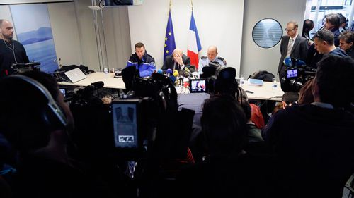 French prosecutor of Marseille, Brice Robin, holds a press conference announcing the co-pilot Andreas Lubitz deliberately crashed the plane. (AAP)