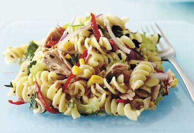Warm tuna pasta salad