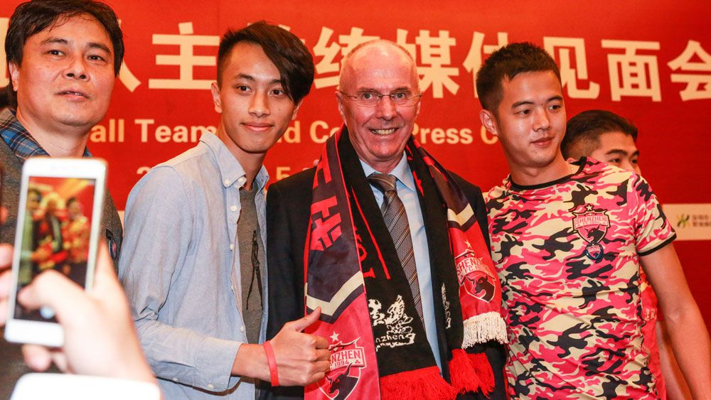 Sven Goran Eriksson at his unveiling as a manager of a Shanghai team. (AAP)