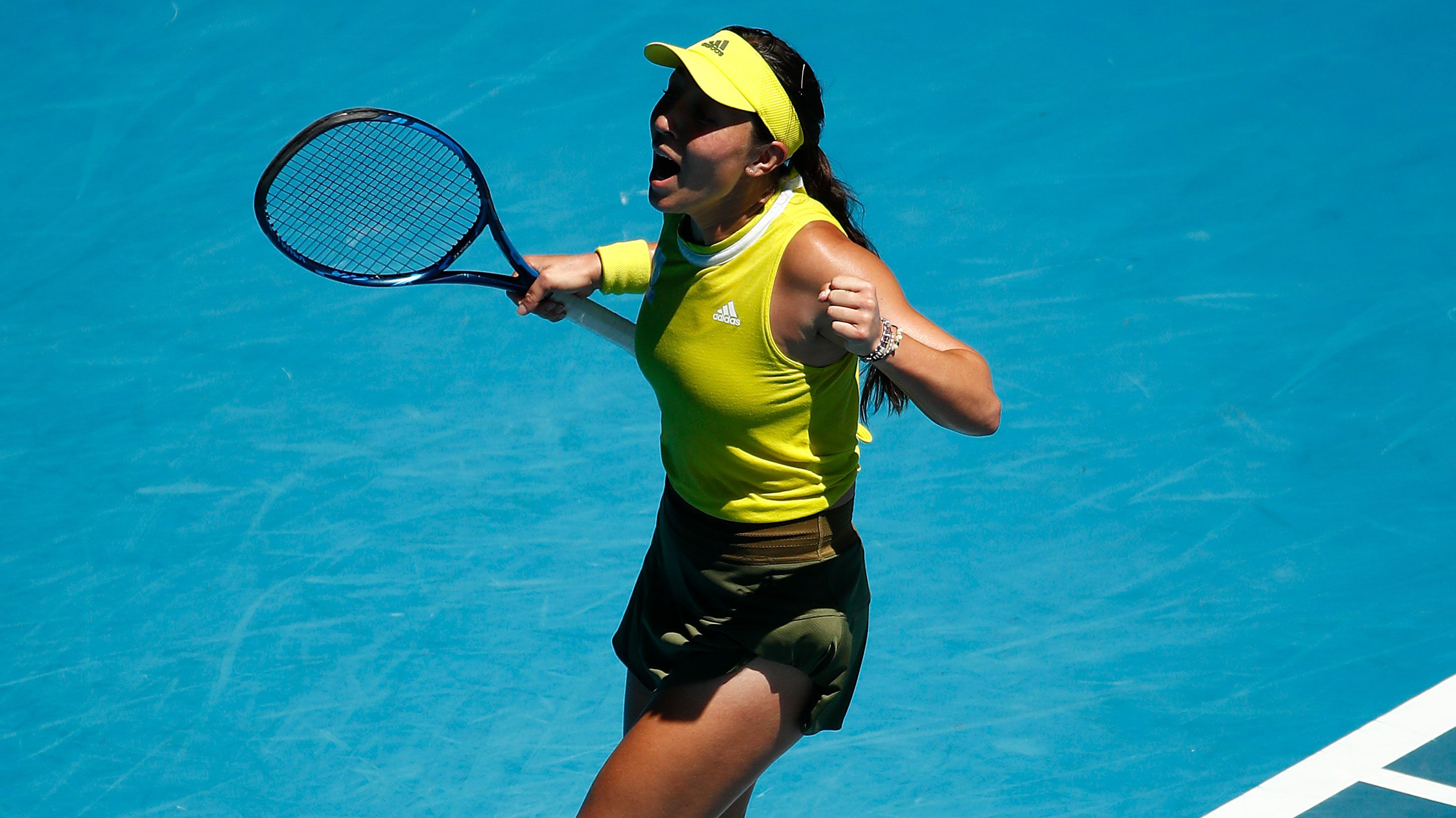 Jessica Pegula celebrates her Australian Open fourth round win.