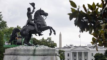 The statue of President Andrew Jackson near the White House.