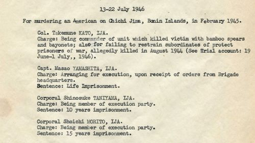A document from a post-war trial listed some of the atrocities committed by Japanese forces on prisoners-of-war on Chichijima.
