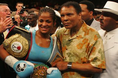 """Laila, daughter of boxing champ Muhammed Ali, strapped on the gloves herself at the age of 15 and went on to have a pretty good career. She was twice Women's Super Middleweight Champion, with the nickname """"She bee stingin"""" a reference to her famous dad's phrase 'Float like a butterfly, sting like a bee'. She proved she could do both in 2007 when she came third in the US <i>Dancing with the Stars.</i>"""
