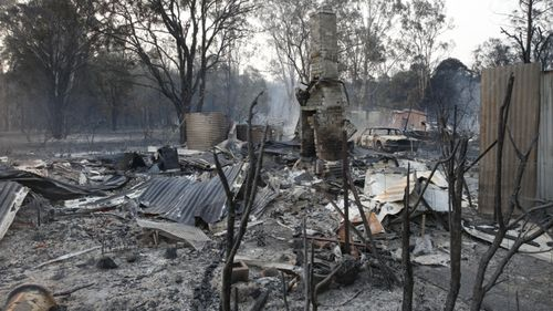 A burnt-out home on Old Bar Road near Taree.