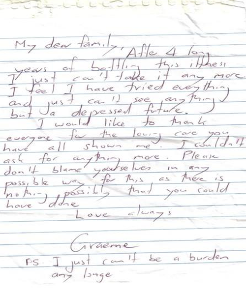 Graeme Cowan, co-founder of R U OK? has bravely shared the letter he wrote his family when he was intent on ending his own life 15 years ago.