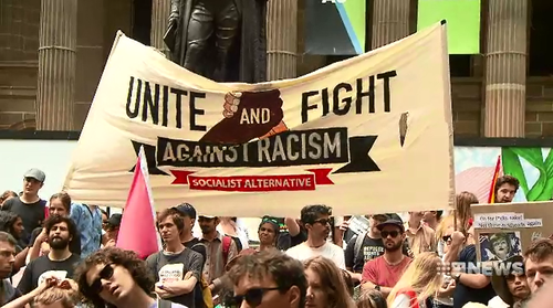 Hundreds gathered on the steps of the State Library in Melbourne to protest about last week's rally where nazi salutes were filmed.