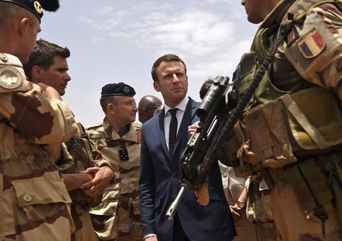 French President Emmanuel Macron visits the troops of France's Barkhane counter-terrorism operation in Africa's Sahel region in Gao, northern Mali.