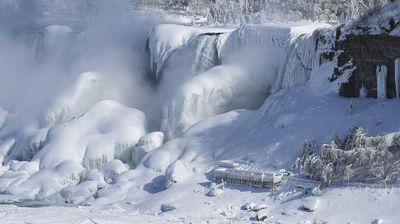 Significant amounts of ice cover both the American and Canadian side of the waterfalls.