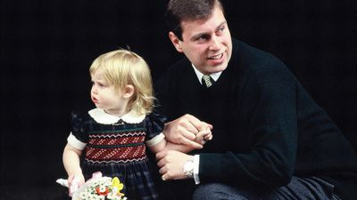 Princess Beatrice visits newborn sister Princess Eugenie in hospital, March 1990