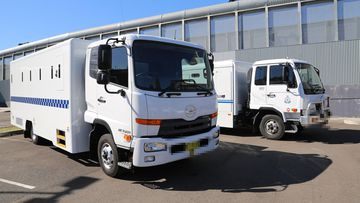 File photo of prison vans outside Silverwater Correctional Complex.