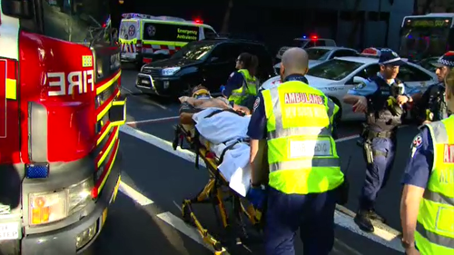 Two people were injured in a crash on the corner of Elizabeth and Goulburn Streets in Sydney's CBD this afternoon.