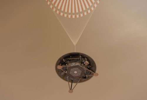 This NASA artist impression illustrates the risky final descent of InSight.