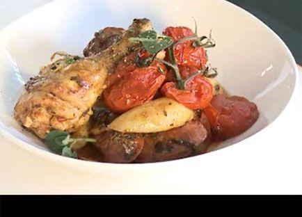Roast chicken with chorizo and tomato