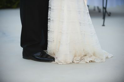 Bride and groom standing together