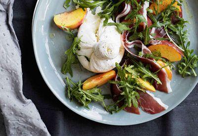 Peaches with burrata, prosciutto crudo and rocket