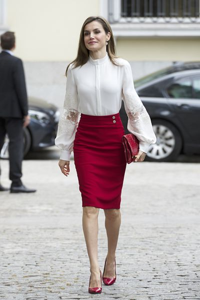 Queen Letizia at the BBVA Bank Foundation in Madrid, in May, 2017