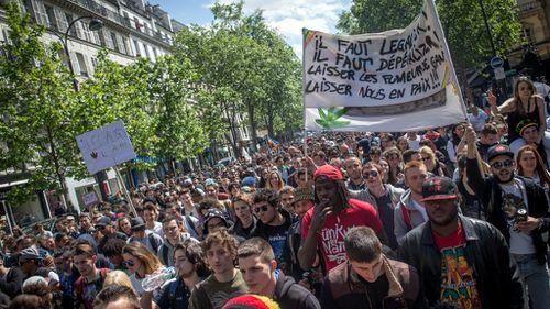 Through the haze, Paris protesters call for fresh cannabis laws