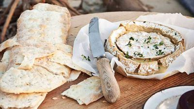"""<a href=""""http://kitchen.nine.com.au/2016/05/16/10/10/warm-whole-camembert-with-quince-paste-flatbread"""" target=""""_top"""">Warm whole Camembert with quince paste & flatbread</a> recipe"""