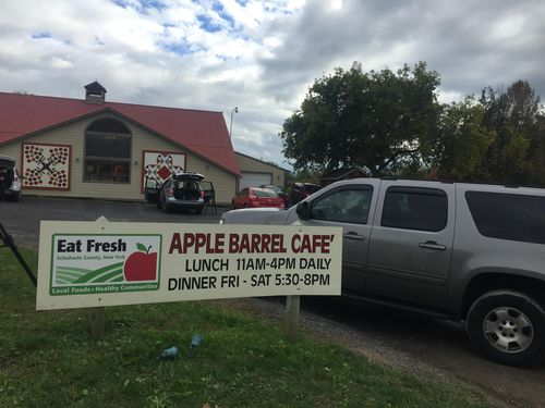 The limo ploughed into an un-occupied vehicle in the car park of the Apple Barrel County cafe.