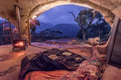 "<a href=""https://www.airbnb.com.au/rooms/6006143"" draggable=""false"">The Enchanted Cave</a> is built onto a natural rock platform in the Blue Mountains. Its the only cave for a couple available in the blue mountains Australia over looking world heritage area national park. That we know of.<br /> <br /> $1,100 AUD pe rnight<br /> <br /> Image: Airbnb"