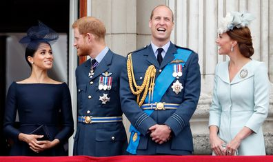 The couples watch a flypast to mark the centenary of the Royal Air Force from the balcony of Buckingham Palace on July 10, 2018 in London.