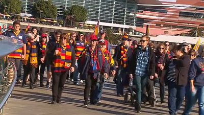 Crows fans were joined by supporters of other AFL teams. (9NEWS)