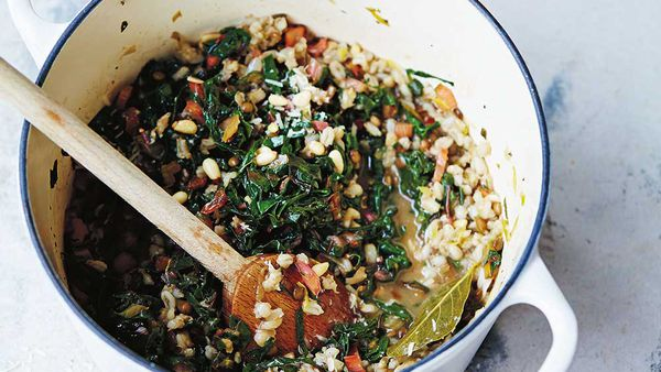 Barley, rainbow chard and lemon risotto recipe by Jude Blereau