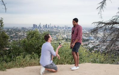 The engagement in Los Angeles on April 11, 2019 -- exactly a year before the wedding date.