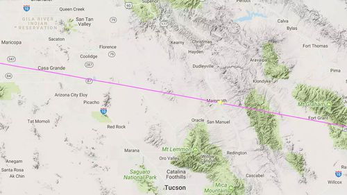 American Airlines Flight 1095 at the time of its UFO sighting. (Flightradar24)
