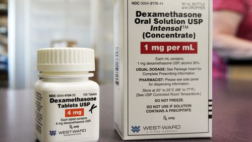 A bottle of Dexamethasone in a pharmacy in Omaha, Nebraska, USA. Donald Trump is said to have been given the drug for coronavirus.
