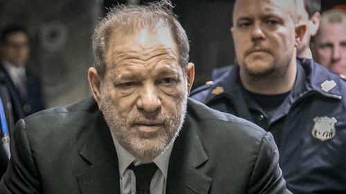 Harvey Weinstein leaves a Manhattan courthouse after a second day of jury selection for his trial on rape and sexual assault charges.