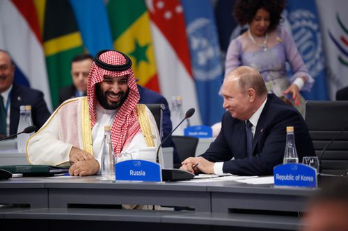 Russian President Vladimir Putin and Saudi Crown Prince Mohammad Bin Salman high-fived each other at the beginning of the G20 forum.