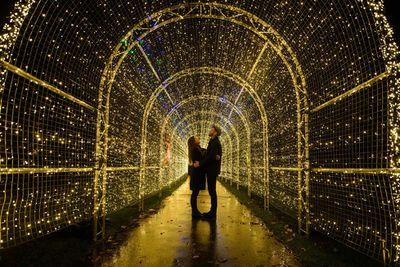 In southwest London, Miranda Jenatka and Alex Little pose under lights in Kew Gardens. (Leon Neal/AFP/Getty)