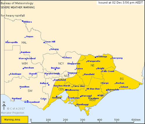 The current areas affected by the severe weather warning. (BoM)