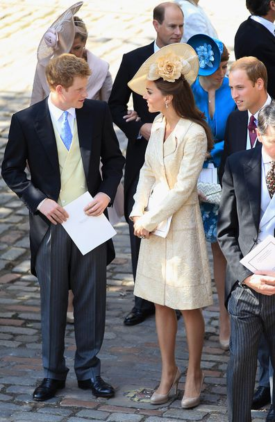 The Duke and Duchess of Cambridge with Prince Harry on July 30, 2011 in Edinburgh, Scotland.