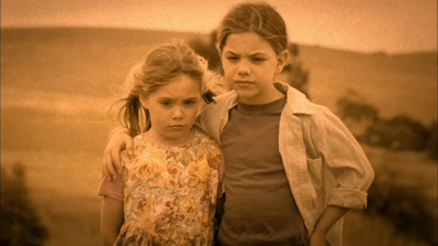 A young Claire and Tess as seen in a flashback on McLeod's Daughters.