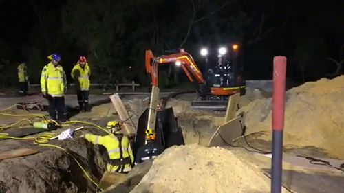 The boy was trapped in the trench for four hours. (9NEWS)